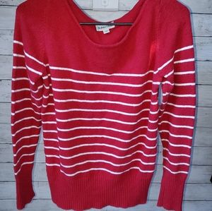 St Johns Bay Red Striped Womens Sweater Size Large